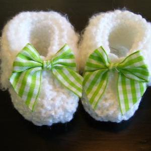 Delicate Handmade White Baby Bootie..