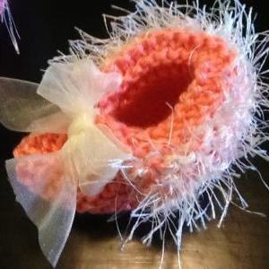 Delicate Handmade Coral Baby Bootie..