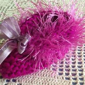 Fuzzy Trimmed Delicate Handmade Pur..