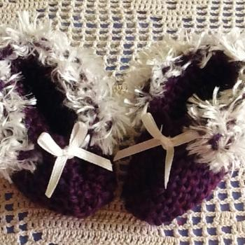 White Fur Trimmed Delicate Dark Purple Handmade Baby Booties